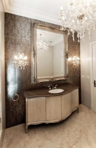 'The piece de resistance' ~ the opulent boudoir where a silver commode stands proudly under a gilded mirror